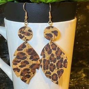 Cork on Leather hand made earrings